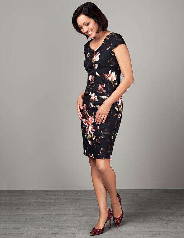Black Floral Dress, Black, hi-res