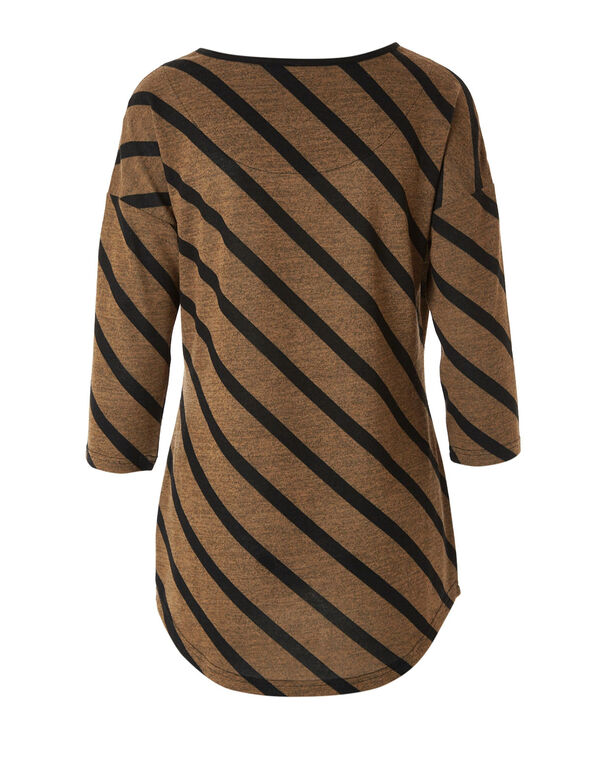 Brown Striped Hacchi Top, Camel, hi-res