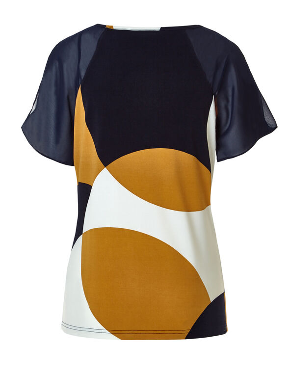 Saffron Print Cold Shoulder Top, Navy/Saffron/Ivory, hi-res