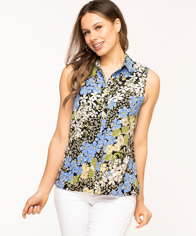 Sleeveless Collared Button Front Blouse, Black/Blue Floral