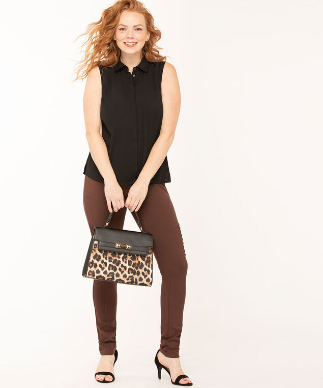 Brown Moto Style Legging, Md Brown, hi-res