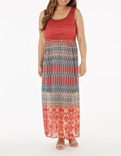 Coral Lace Chiffon Maxi Dress, Coral, hi-res