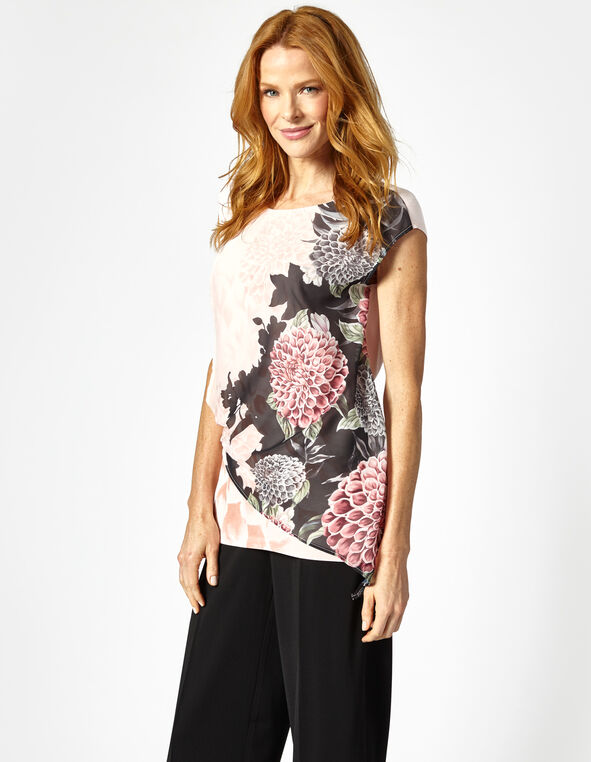 Pink Placement Printed Top, Pink, hi-res