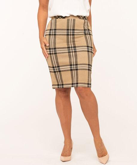 Plaid Jacquard Knit Pencil Skirt, Camel/Black, hi-res