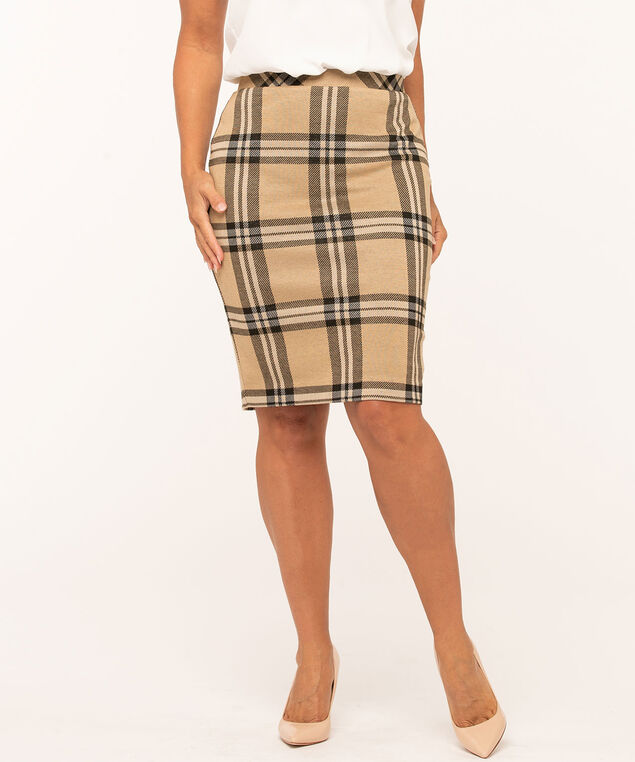 Plaid Jacquard Knit Pencil Skirt, Camel/Black
