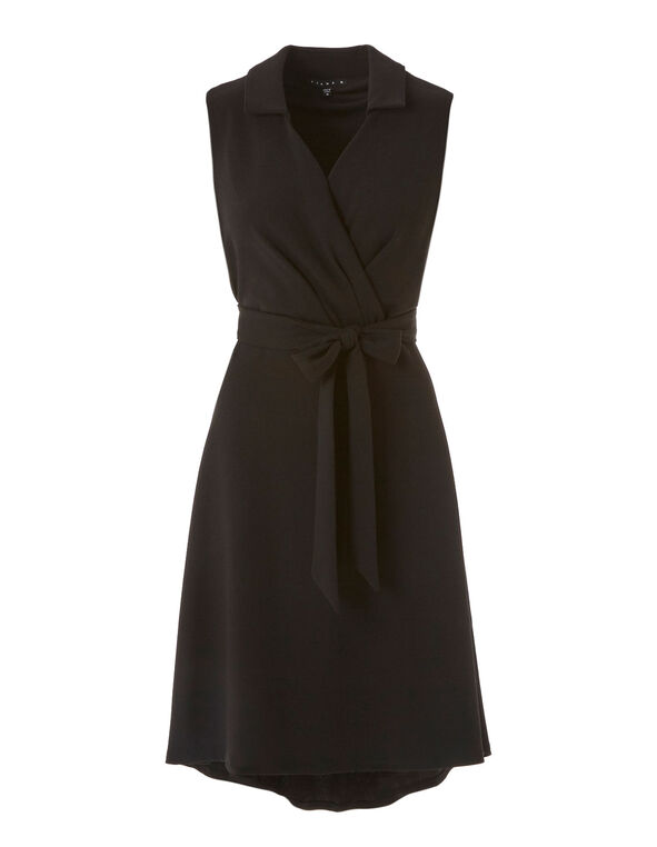 Black Tie Waist Fit & Flare Dress, Black, hi-res
