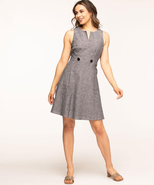 V-Neck Fit & Flare Dress, Blue Melange