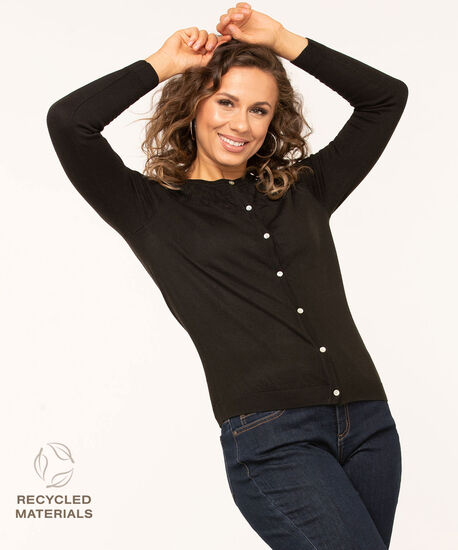 Recycled Pointelle Button Cardigan, Black, hi-res