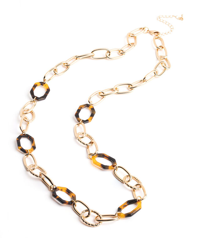 Gold & Tortoise Chain Link Necklace, Gold