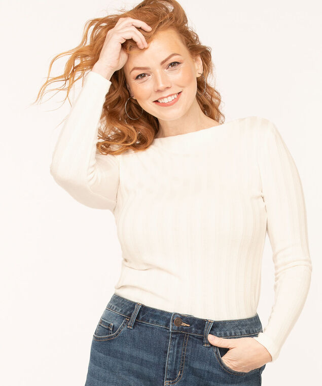Ribbed Boat Neck Knit Top, Ivory