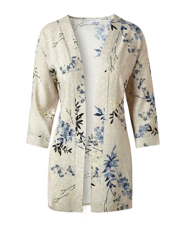 Stone Floral Kimono Blouse, Stone, hi-res