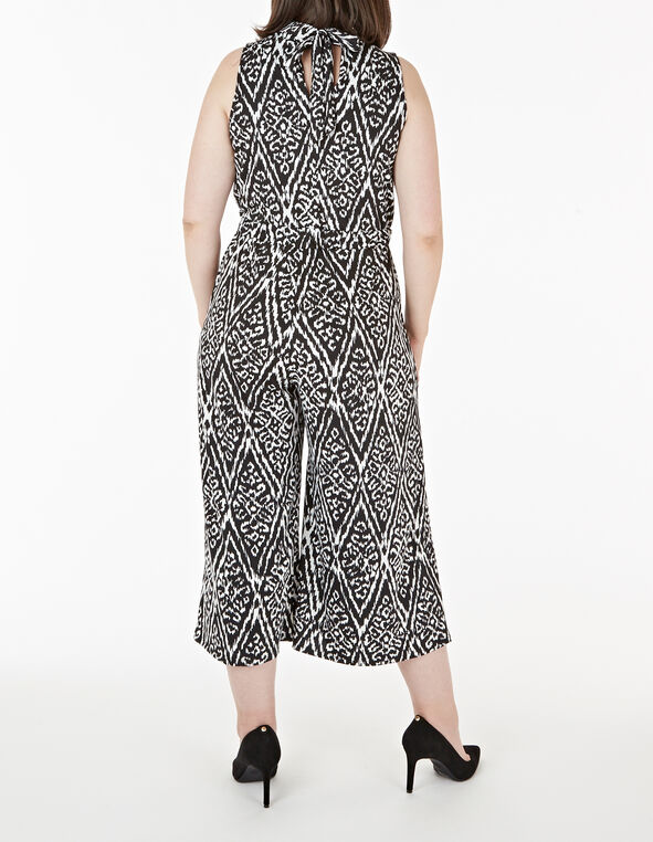 Black & White Print Jumpsuit, Black, hi-res