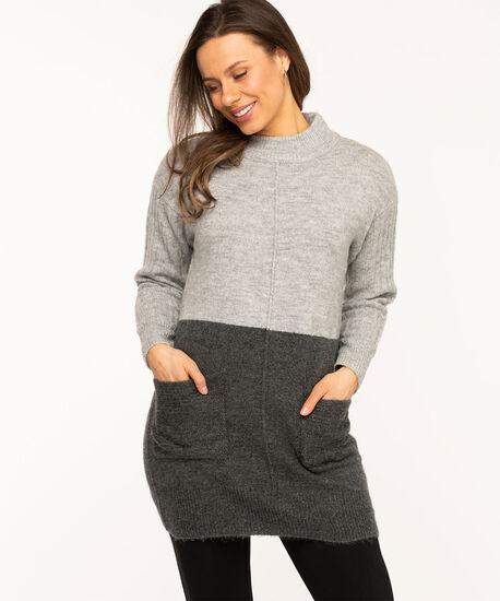 Grey Colour Block Tunic Sweater, Grey/Charcoal, hi-res