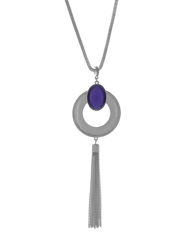 Long Purple Cat Eye Necklace, Purple, hi-res