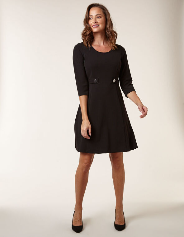 Black Fit & Flare Dress, Black, hi-res