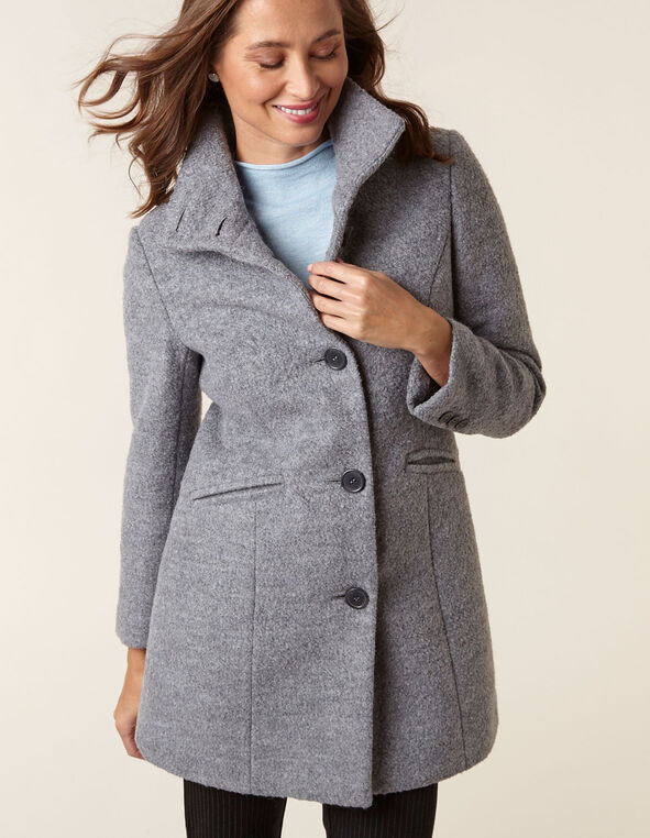 Grey Wool Blend Boucle Coat, Grey, hi-res