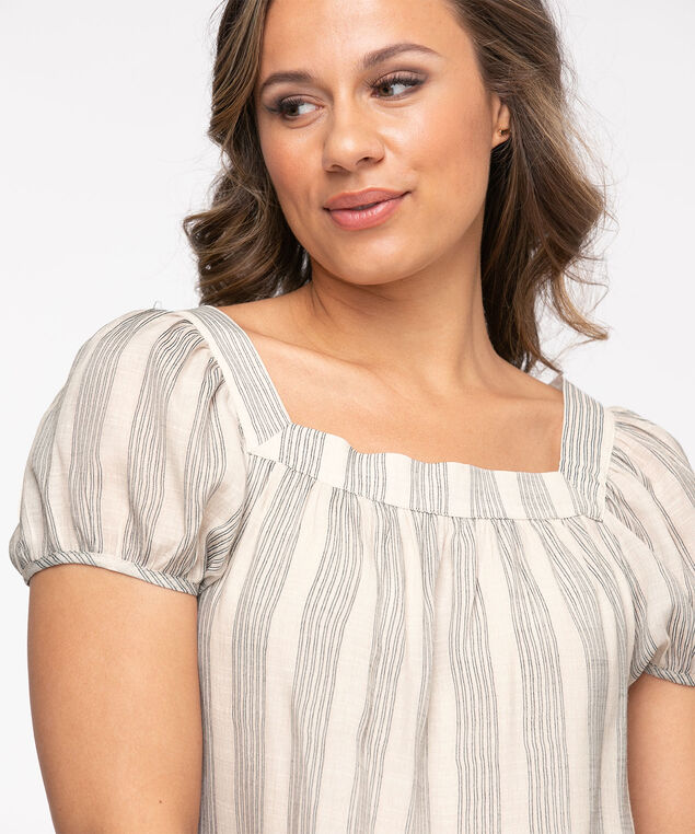 Square Neck Puff Sleeve Blouse, Stone Stripe