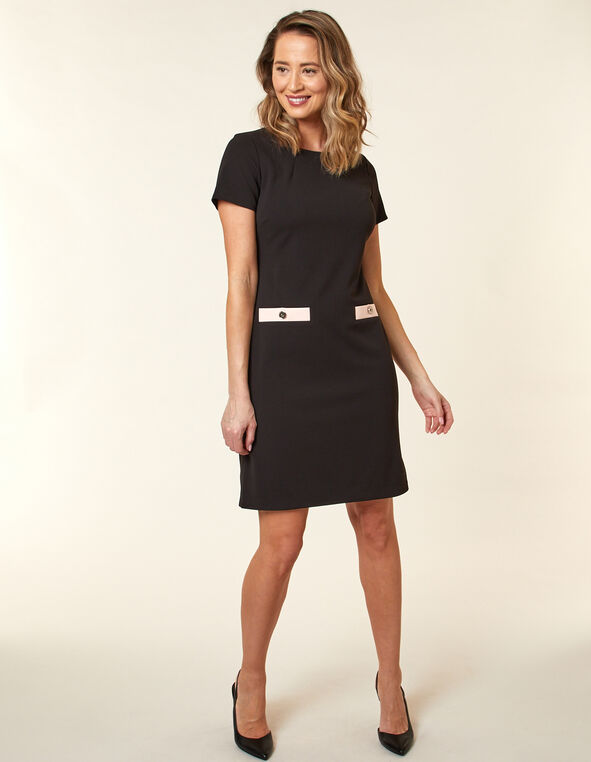 Black Scuba Crepe A-Line Dress, Black, hi-res