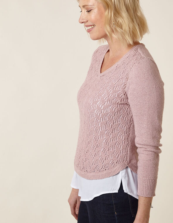 Blush Crochet Fooler Sweater, Pink, hi-res