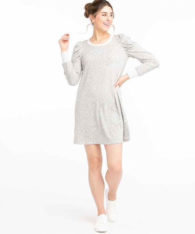 French Terry Puff Sleeve Dress, Grey Animal Print