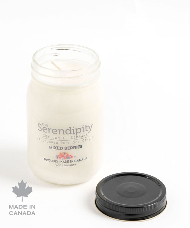 Mixed Berries Soy Candle, White