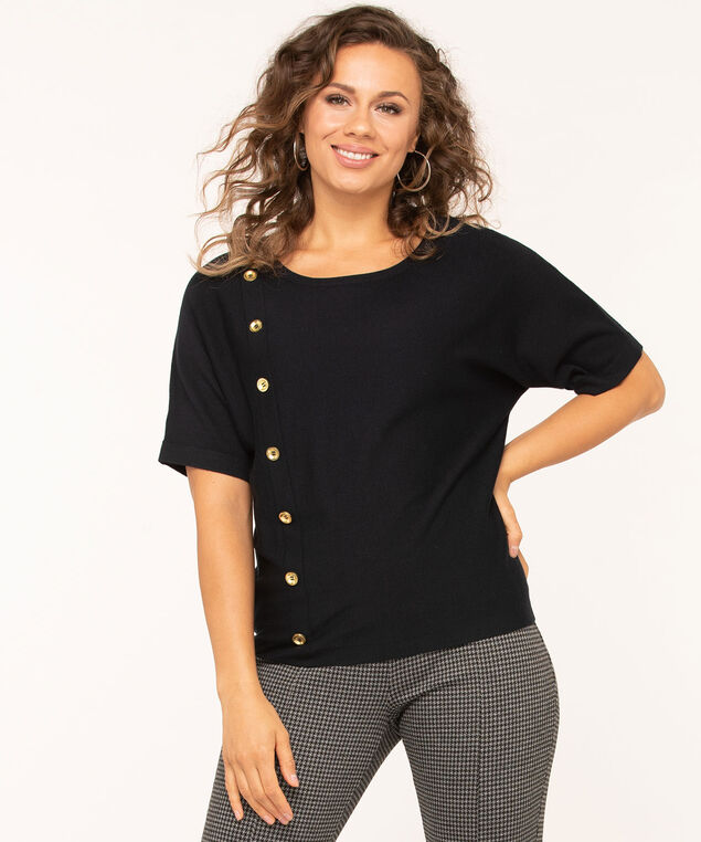 Button Detail Dolman Pullover Sweater, Navy