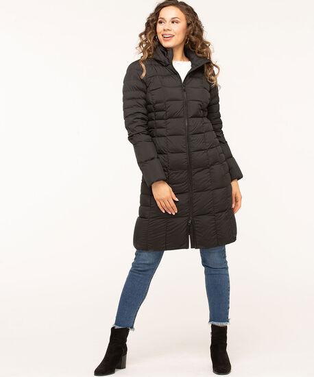 Black Lightweight Down Puffer Coat, Black, hi-res