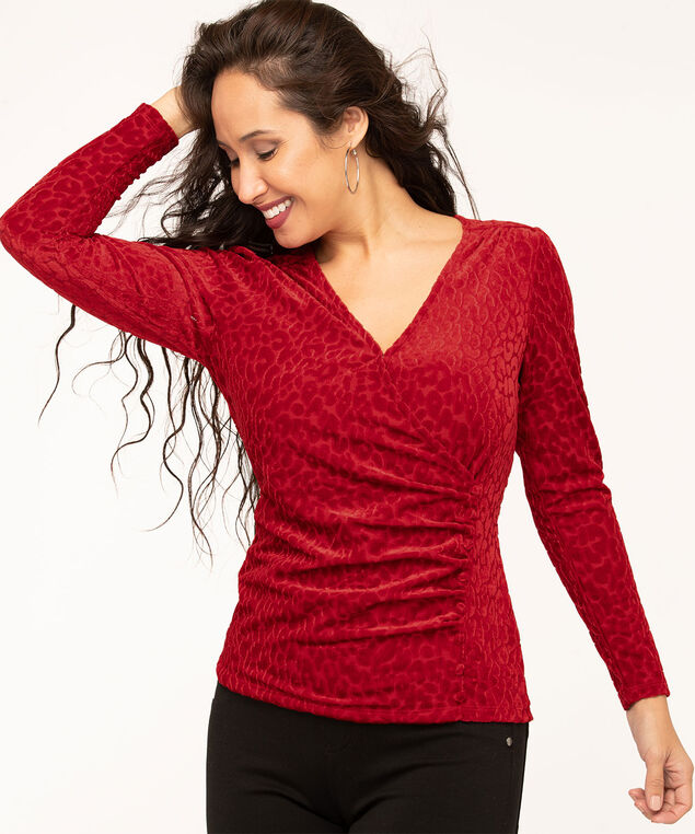 Ruby Velour Burnout Wrap Top, Red, hi-res
