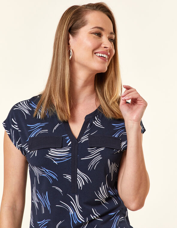 Navy Dash Crepe Top, Navy/Cornflower, hi-res