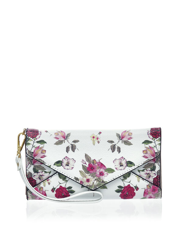 White Floral Envelope Wallet, White, hi-res