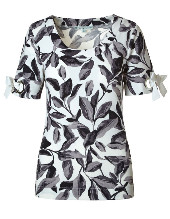 Grey Floral Crepe Top, Black/Ivory, hi-res