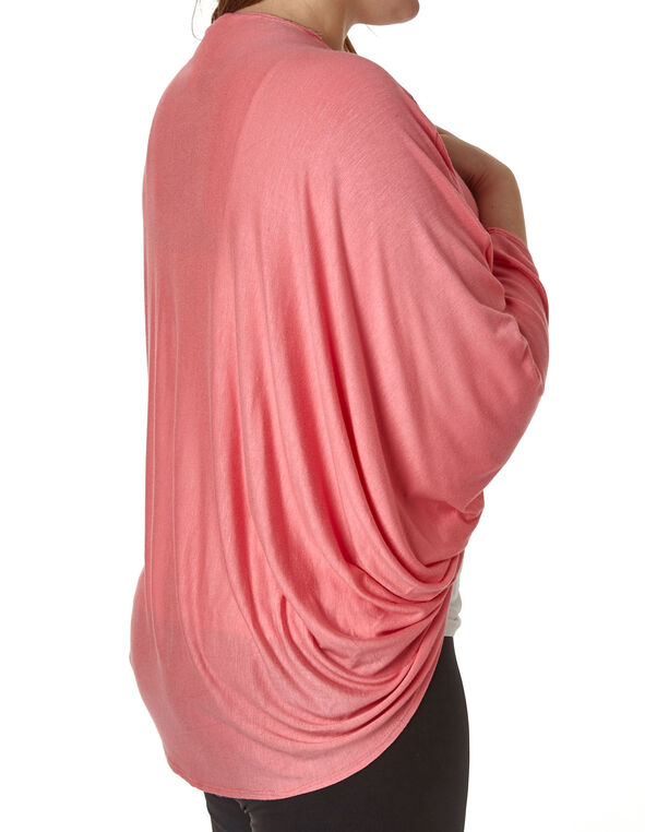 Coral Bubble Sleeve Cardigan Top, Coral, hi-res