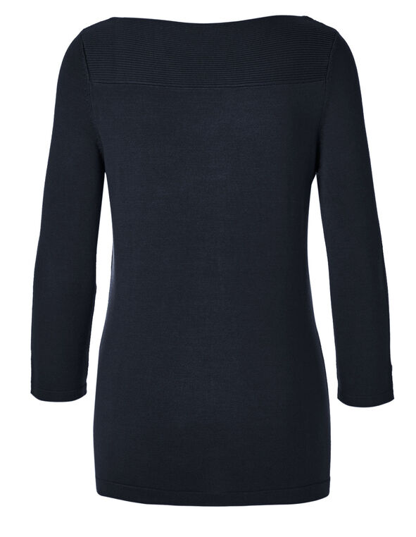 Navy Ribbed Sweater, Navy, hi-res