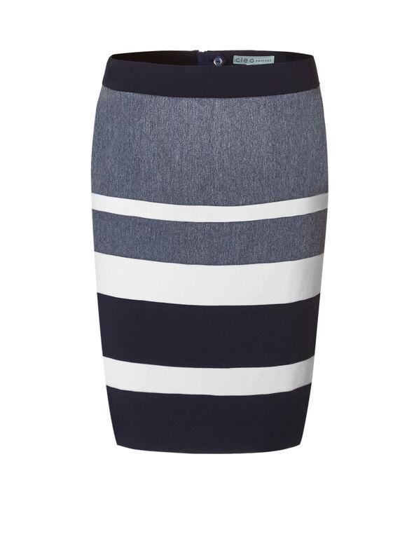 Chambray Colour Block Pencil Skirt, Navy/Chambray, hi-res