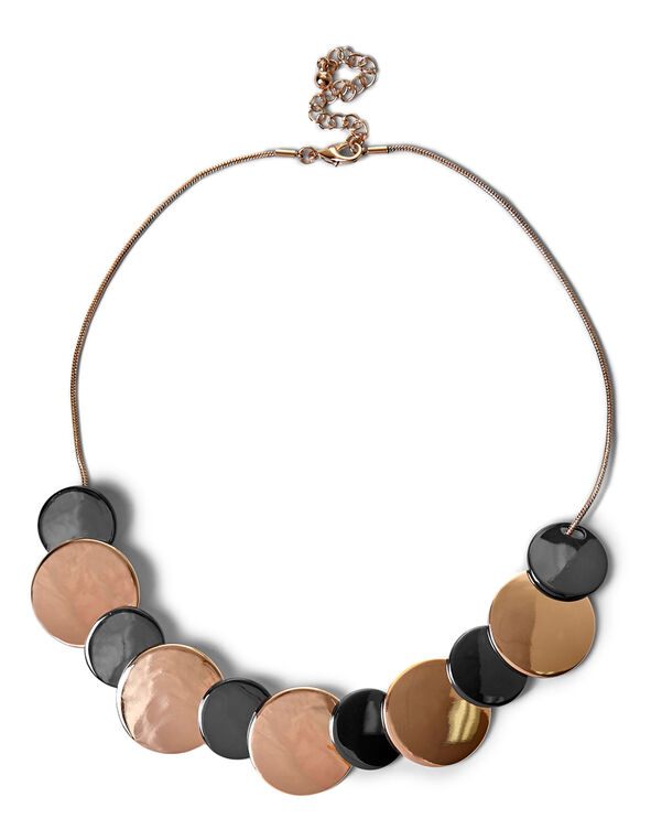 Metal Statement Necklace, Rose Gold/Hematite, hi-res
