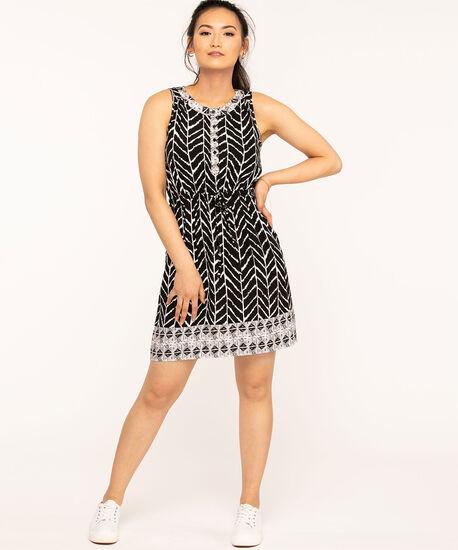 Sleeveless Button Front Printed Dress, Black/White, hi-res