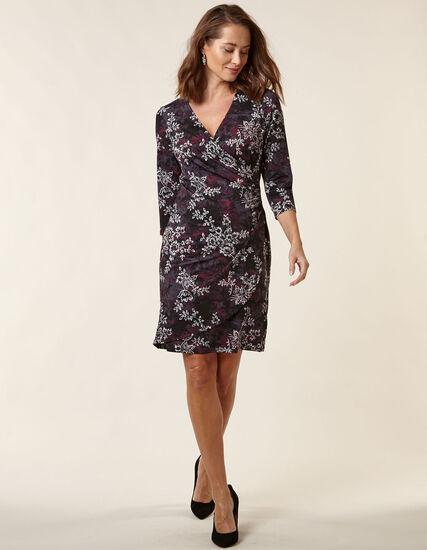 Mauve Floral Wrap Styled Dress, Mauve, hi-res