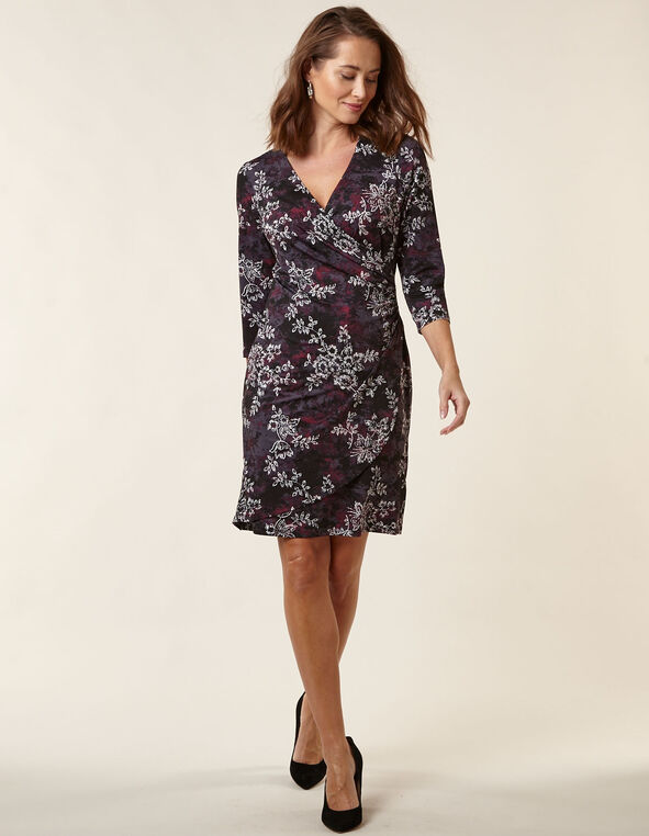 Mauve Floral Wrap Styled Dress, Mauve, hi-res