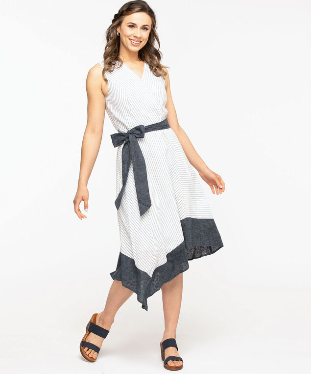 Ivory Sleeveless SharkBite Hem Dress, Ivory/Chambray