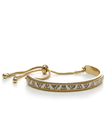 White Accent Adjustable Bracelet, Gold/White, hi-res