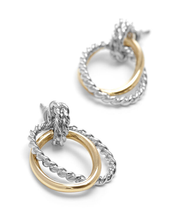 Slver & Gold Twisted Hoop Earring, Gold/Silver, hi-res