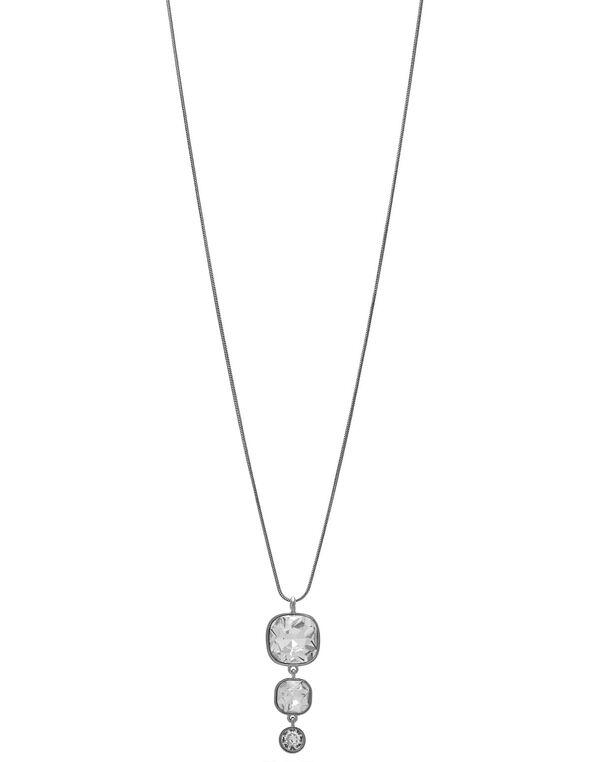 Silver Crystal Long Necklace, Silver, hi-res