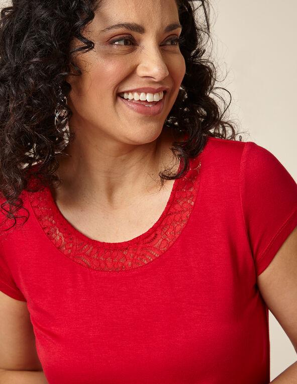 Poppy Lace Cap Sleeve Top, Red/Poppy, hi-res
