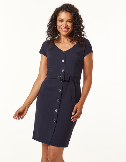 Navy Button Front Sheath Dress, Navy, hi-res