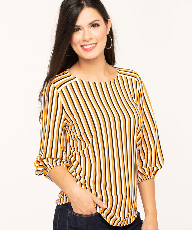 Gold Geo Print Crepe Top, Gold/Black/Ivory