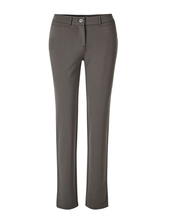 Taupe Long Comfort Stretch Slim Pant, Taupe, hi-res