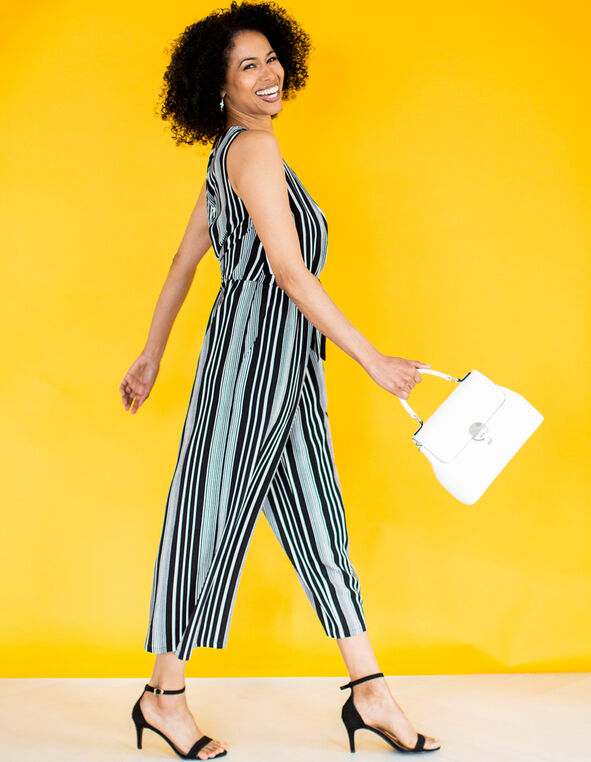 Black & White Striped Jumpsuit, Black/White, hi-res