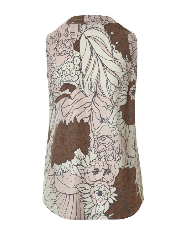 Floral V-Neck Blouse, Nude/Dusty Pink/Biscuit, hi-res