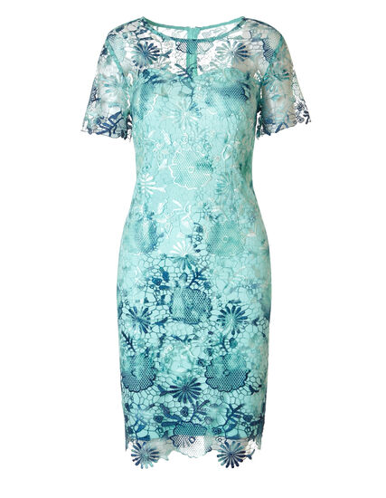 Mint Lace Overlay Dress, Mint/Blue, hi-res