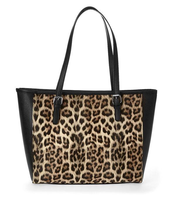 Leopard Printed Tote, Brown, hi-res
